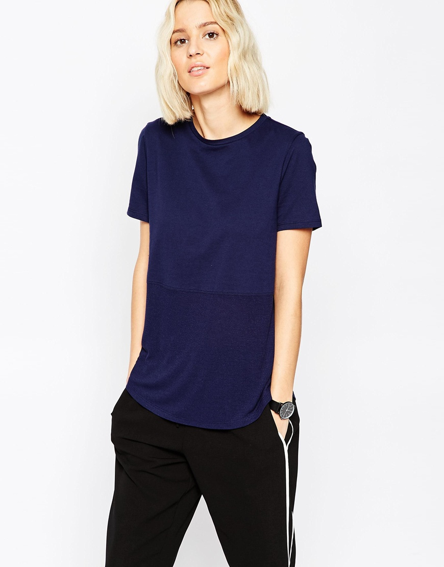 Contrast Ribbed Panel T-Shirt 4