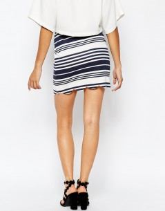 Daisy Street Scallop Hem Skirt in Stripe 1