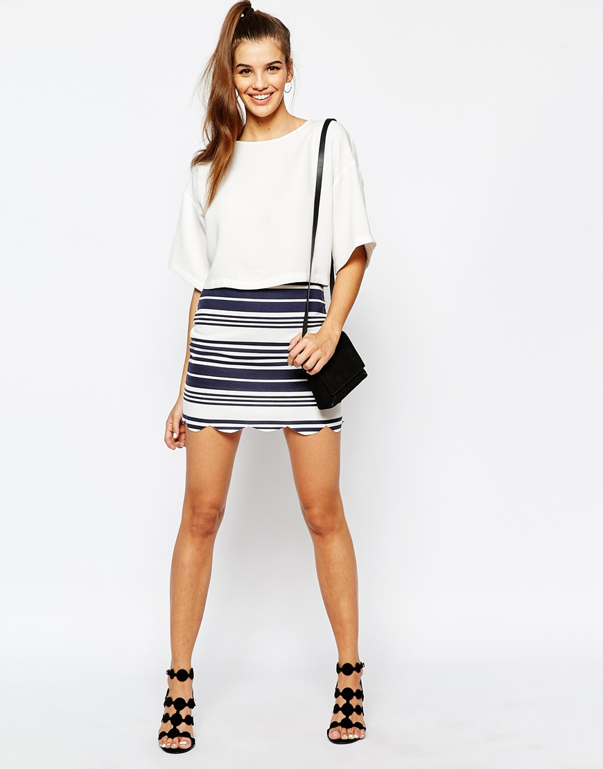 Daisy Street Scallop Hem Skirt in Stripe 4