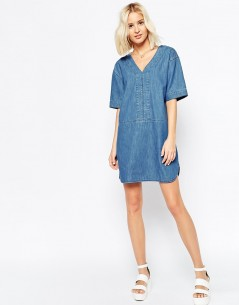 Denim Dress With Curved Hem In Mid-Wash Blue 3