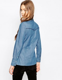 Denim Fitted Americana Shirt With Embroidered Collar in Mid Stone Wash 1