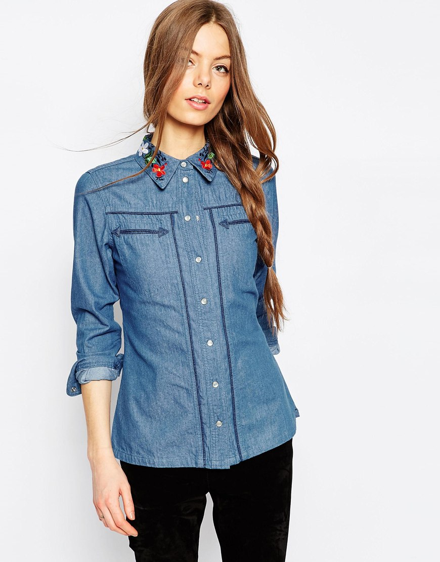 Denim Fitted Americana Shirt With Embroidered Collar in Mid Stone Wash 4