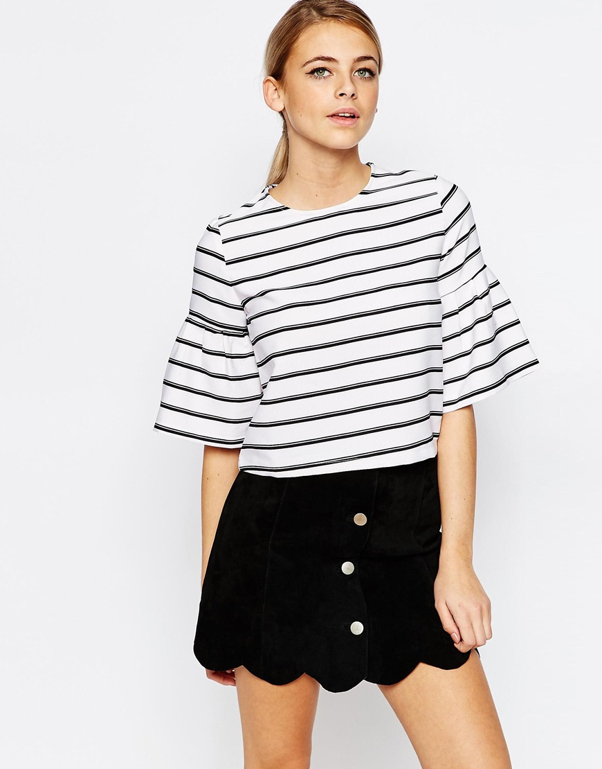 Fashion Union Stripe Top with Fluted Sleeve 4