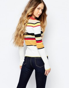 Glamorous Shrunken Knit Jumper with Stripe Trim 1