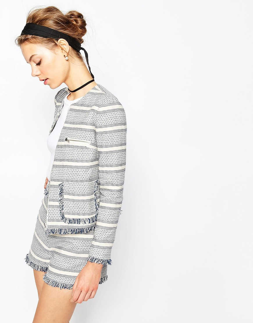 Jacquard Blazer with Zip and Fringe Detail Co-ord 02