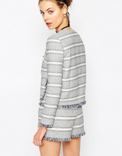 Jacquard Blazer with Zip and Fringe Detail Co-ord 04
