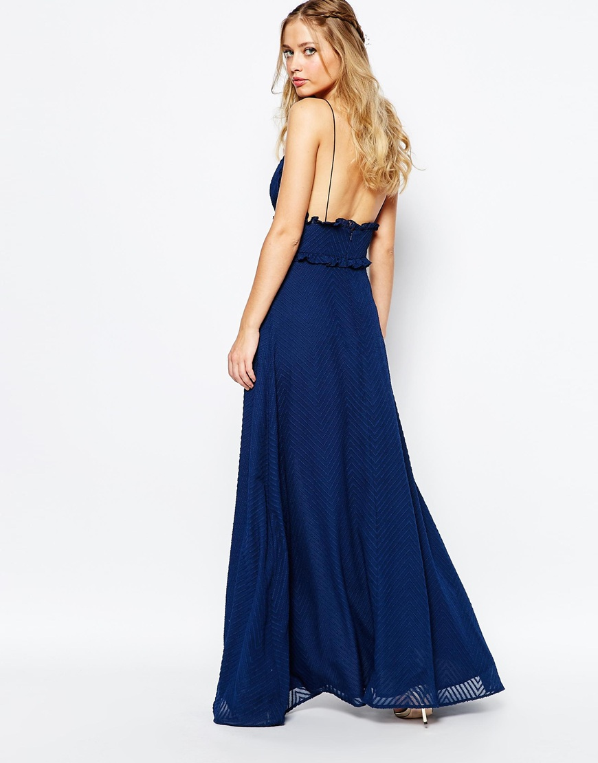 Jarlo V Front Maxi Dress With Frill Detail and Center Split 1