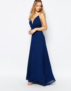 Jarlo V Front Maxi Dress With Frill Detail and Center Split 3