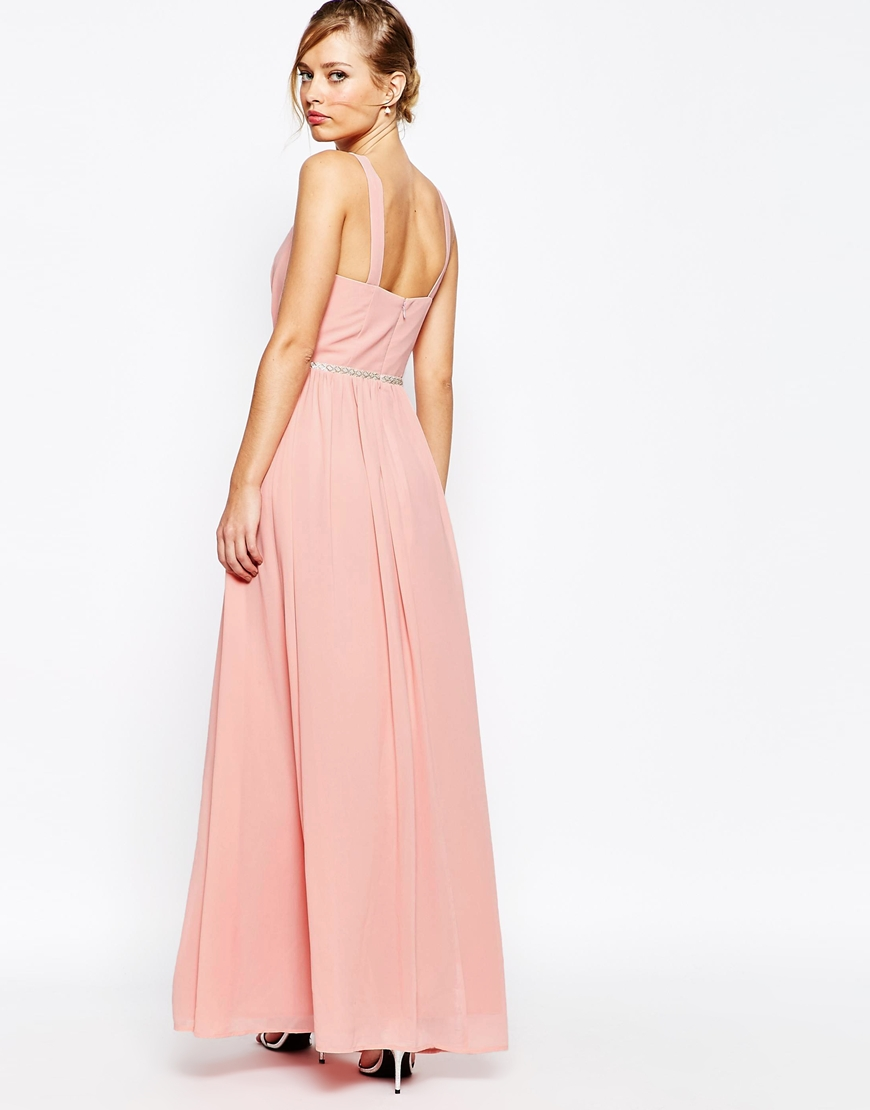 Jarlo V Neck Maxi Dress In Chiffon With Embellished Waist 1