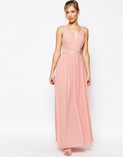 Jarlo V Neck Maxi Dress In Chiffon With Embellished Waist 4