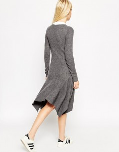 Jumper Dress In Rib Knit In Trapeze Shape With Popper Detail 1