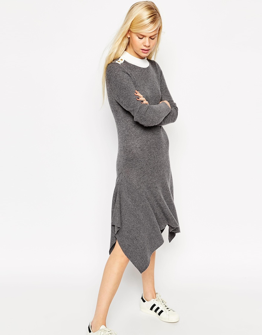 Jumper Dress In Rib Knit In Trapeze Shape With Popper Detail 4