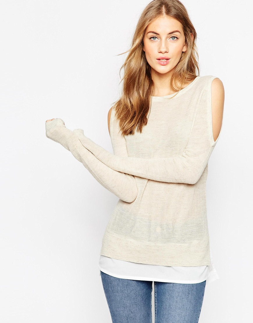 Jumper with Cold Shoulder and Woven Detail 4