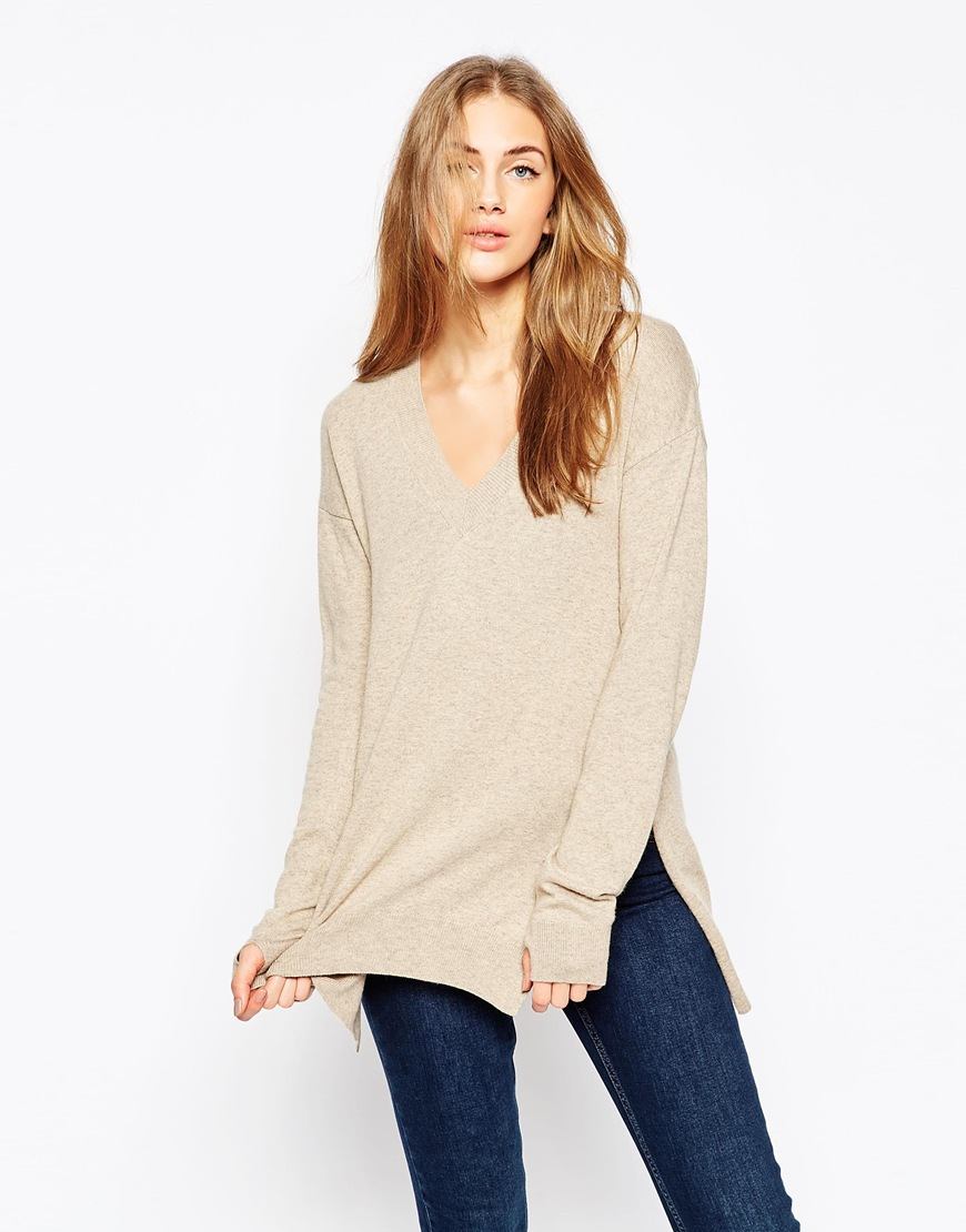 Jumper with V-Neck in Cashmere Mix 02