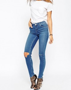 Lisbon Skinny Midrise Jeans in Blessing Mid Stonewash with Rips 4