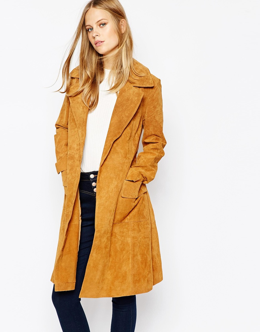 Lost Ink Suede Belted Trench 4