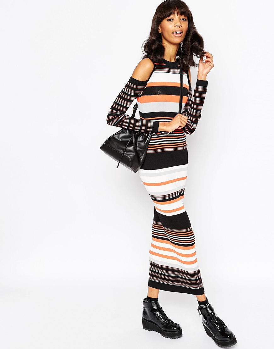 2c9dfa7676d78a Maxi Dress in Stripe Knit and Cold Shoulder. Previous  Next