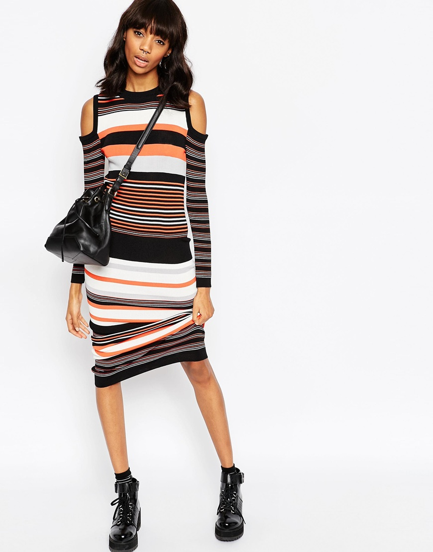 Maxi Dress in Stripe Knit and Cold Shoulder 3