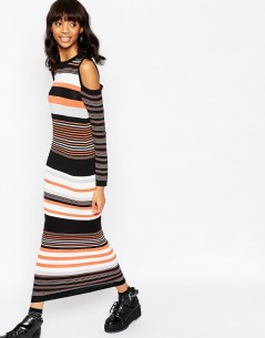 Maxi Dress in Stripe Knit and Cold Shoulder 4