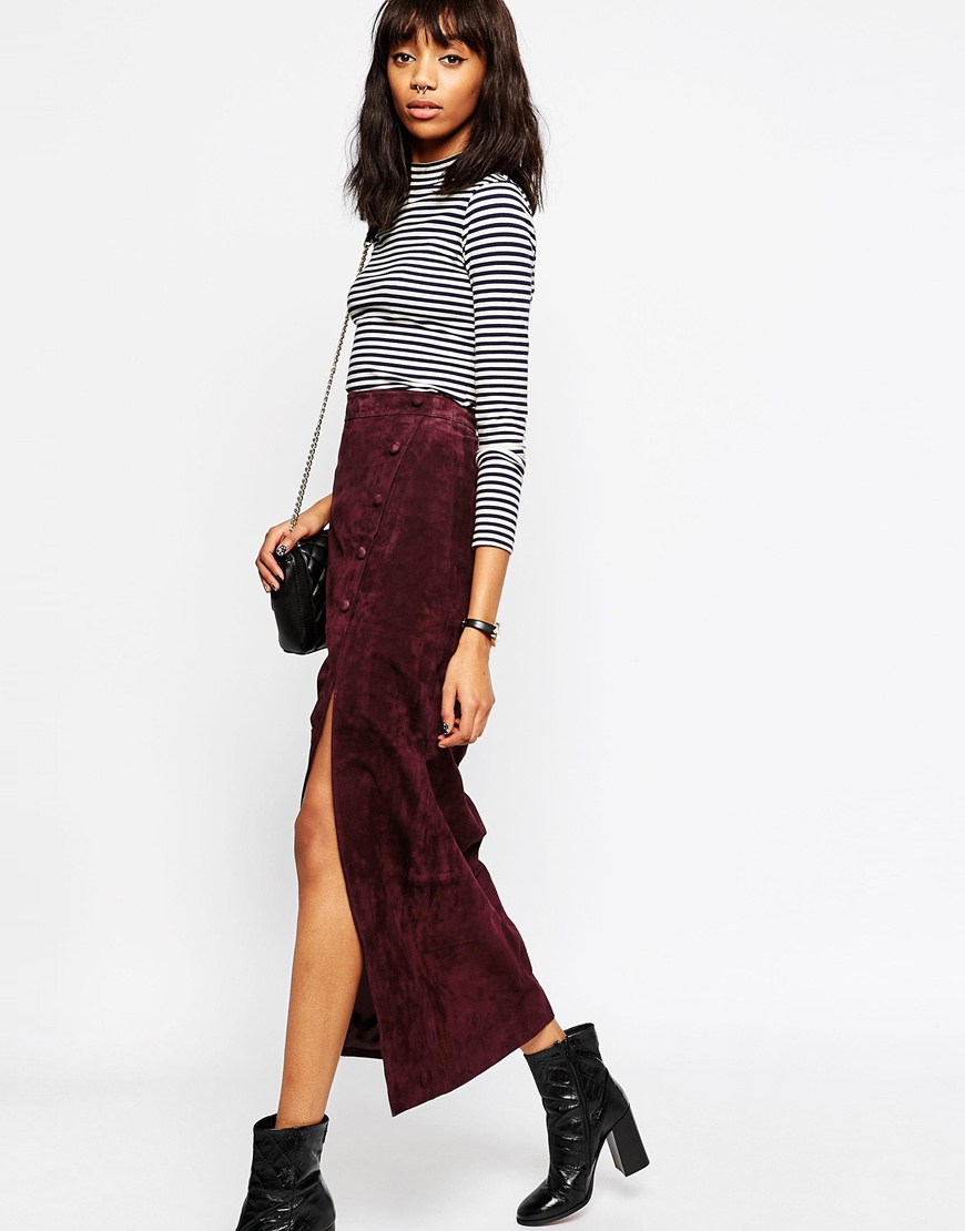 Maxi Skirt with Thigh Split in Suede 3