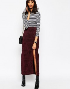 Maxi Skirt with Thigh Split in Suede 4