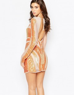 Maya Mesh And Sequin Bodycon Dress With Cut Out Back 1