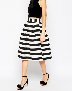 Midi Prom Skirt in Stripe 3