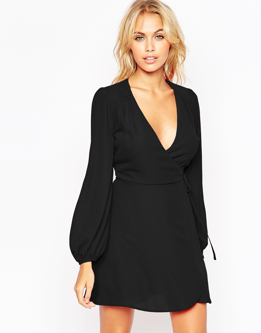 Mini Wrap Dress with Blouson Sleeve 4
