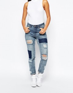 Missguided High Rise Patched Ripped Slim Jean 4