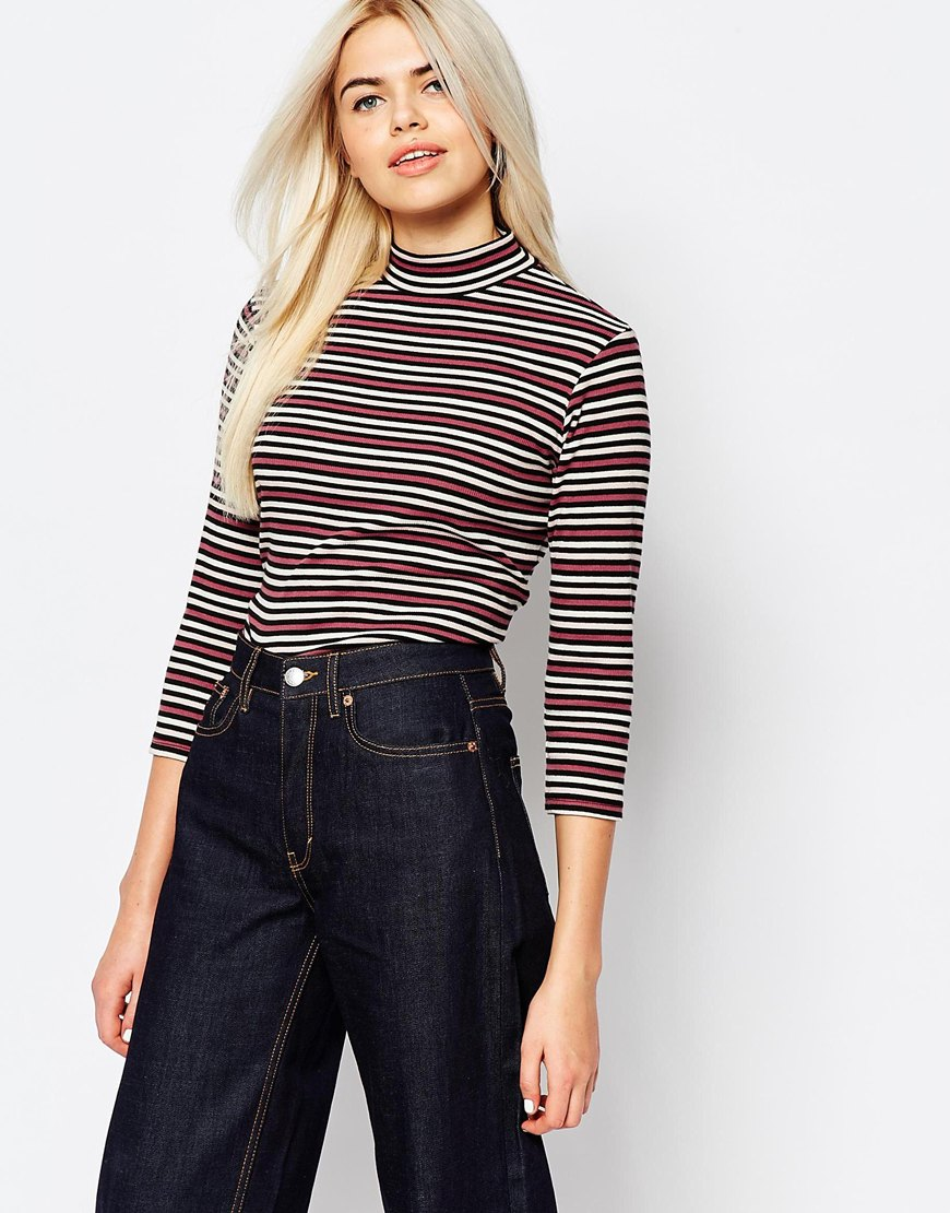 Monki High Neck Stripe Top 4