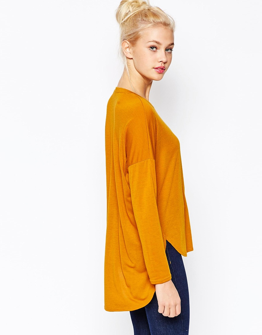 Monki Long Sleeve Dip Hem T-Shirt 1