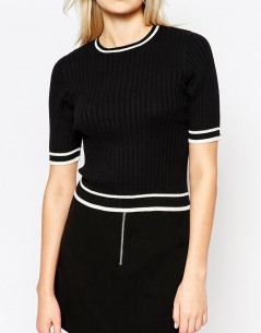 Monki Short Sleeve Knit Top 2
