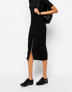 Monki Zip Detail Rib Pencil Skirt 3