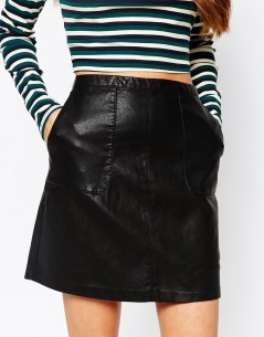 New Look Faux Leather A-Line Skirt 2