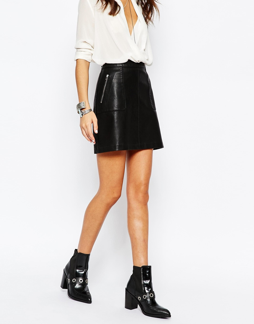 New Look Faux Leather Zip Skirt | OOTD
