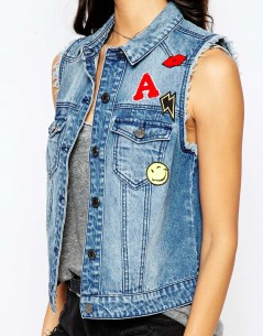 Noisy May Patched Sleeveless Denim Jacket 2