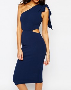 Oh My Love Midi One Shoulder Tie Bodycon 2