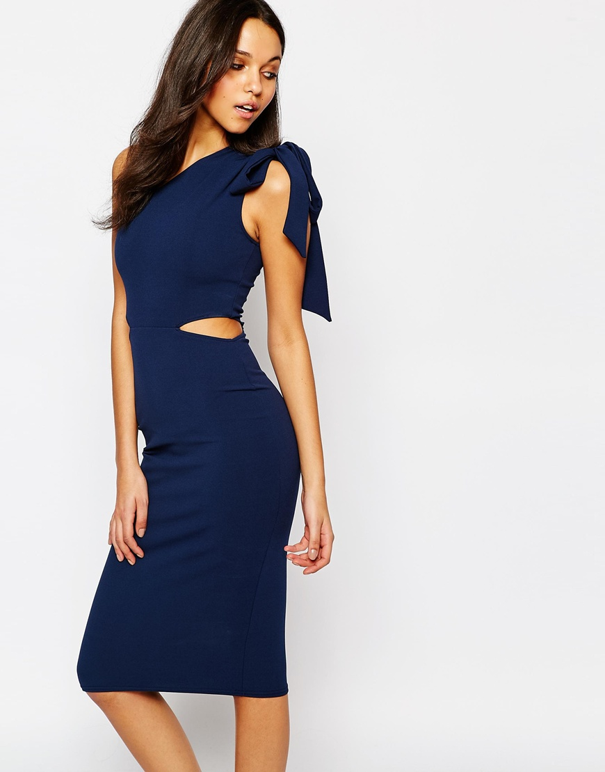 Oh My Love Midi One Shoulder Tie Bodycon 4