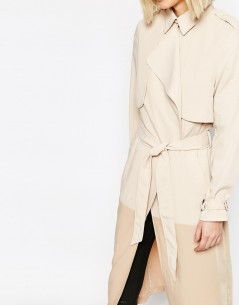 Paisie Two-tone Lightweight Trenchcoat with Draped Collar 2