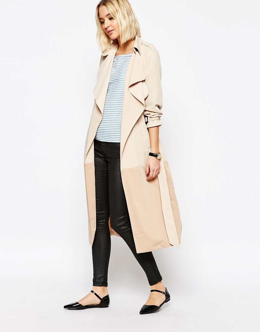 Paisie Two-tone Lightweight Trenchcoat with Draped Collar 4