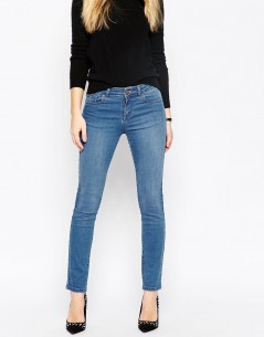 Pencil Straight Leg Jeans In Daisy Bright Blue Wash 4