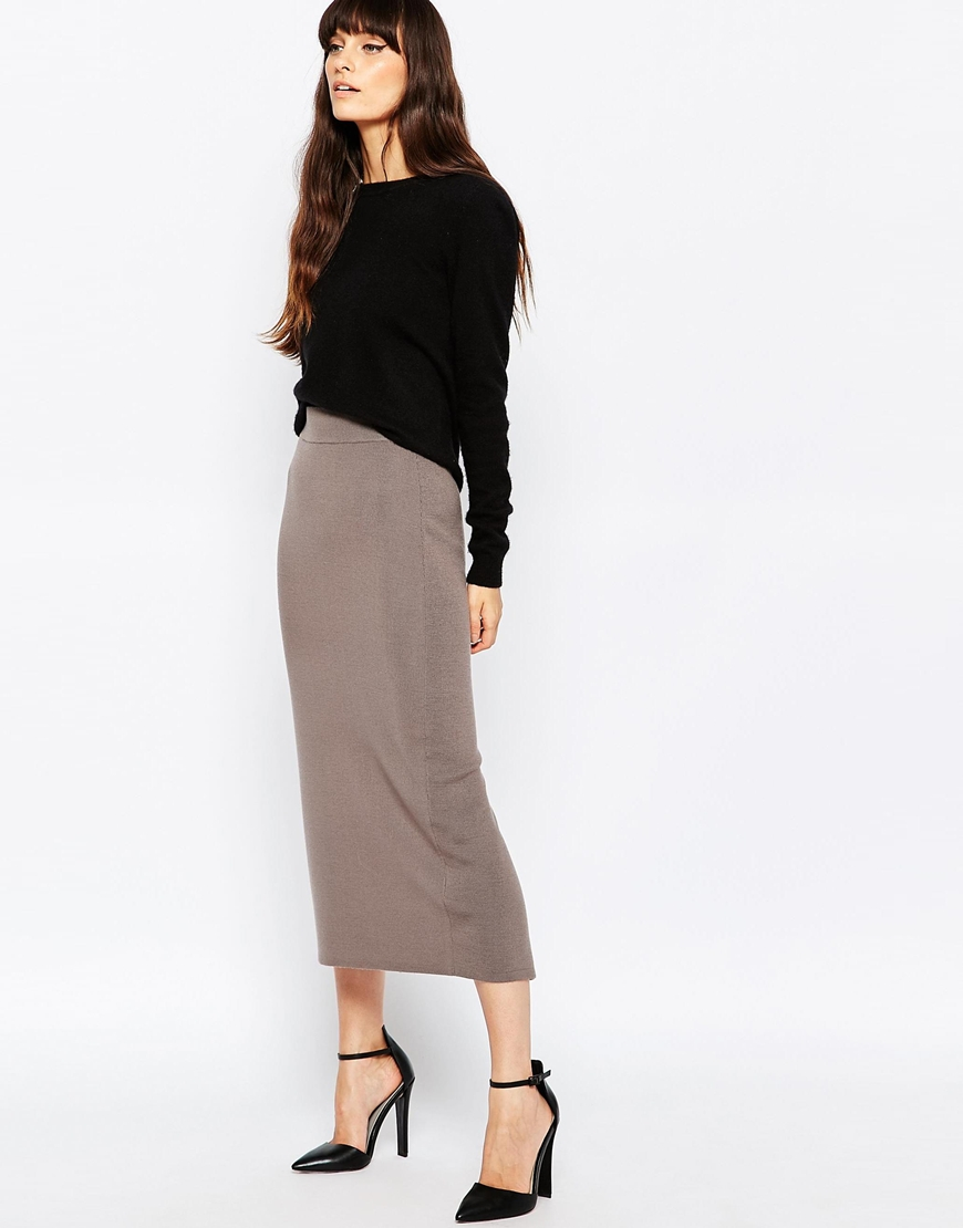 Reiss Callis Long Knitted Pencil Skirt 02