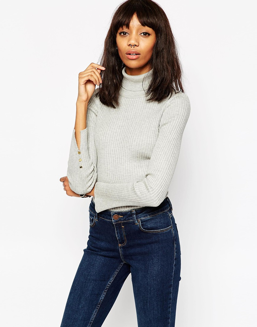 Ribbed Jumper With Roll Neck And Split Cuff Detail 4