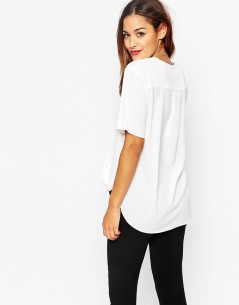 Short Sleeve Drape Wrap Blouse 01