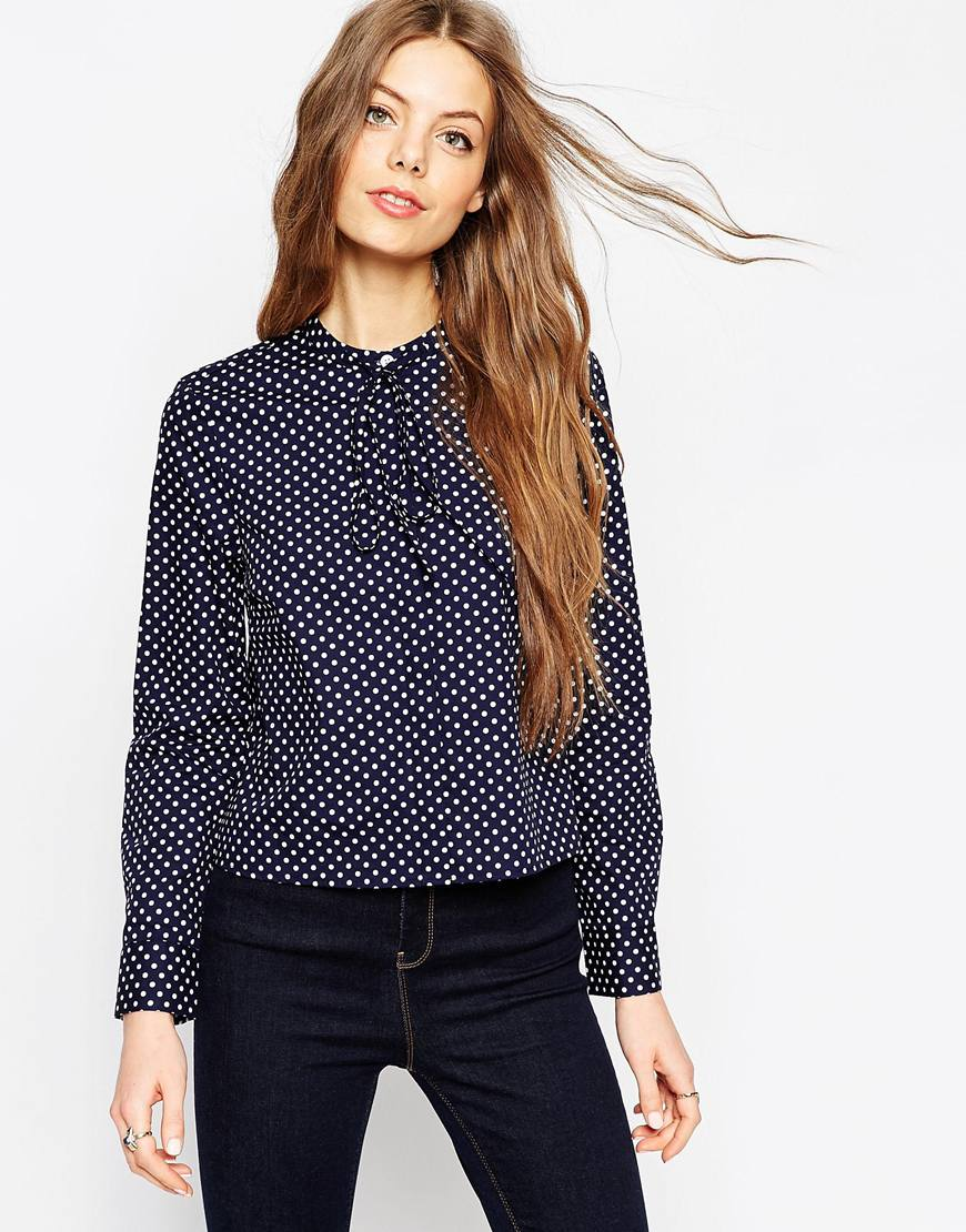 Spot Print Shirt With Tie Front 4
