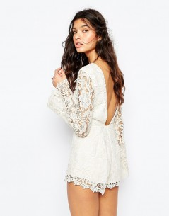 The Jetset Diaries Pisa Lace Playsuit in Ivory 1