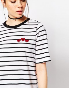 Tipped T-Shirt in Stripe with You Me oui Badges 2
