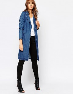 Vero Moda Belted Denim Duster Coat 3
