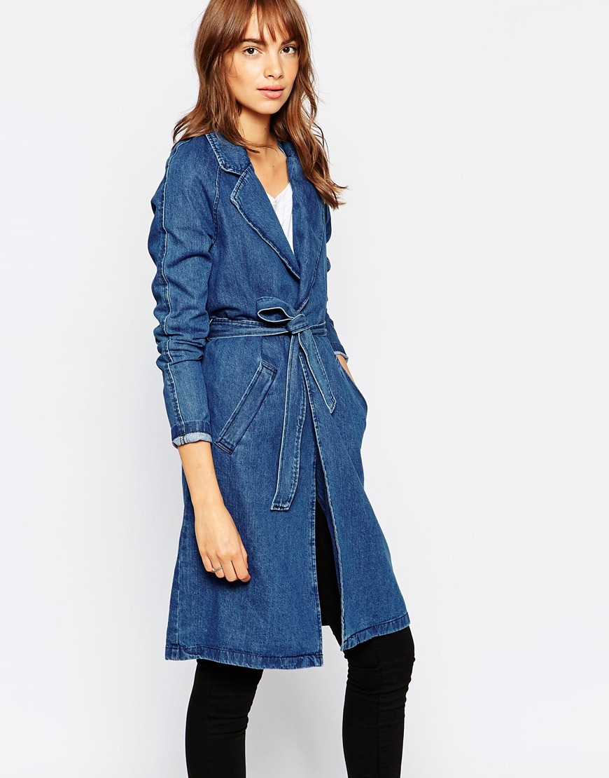 Vero Moda Belted Denim Duster Coat 4