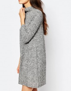 Vero Moda High Neck Ribbed Swing Dress 2